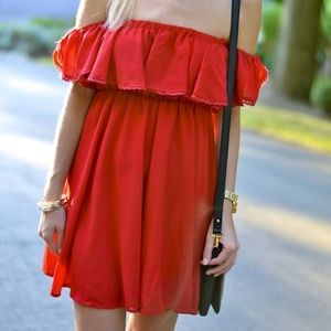 Chicwish Red Off the Shoulder Dress